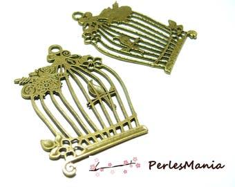 2 pendants large bird CAGE and BRONZE 2Y5817, diy
