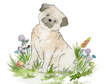 Pug Art Print, Pug Nursery Print, Watercolor Pug Print, Pug Dog Art, Pug Lovers,  Puppy Dog Nursery Wall Art Children's Art Pug gift