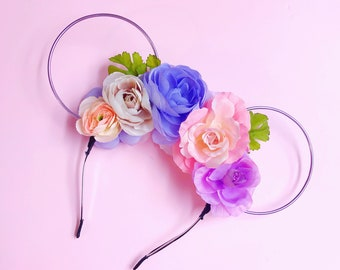 Pastel Flower Crown and Lilac Wire Mouse Ears