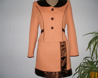 Pretty Skirt Suit Vintage / Skirt and Jacket / Two Piece / Orange / Brown / Size EUR38 / UK10