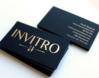 Black Business Cards 700gsm 1 Foil Color With Blind