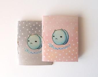 "Small Handbound Journal - ""Meowcaron"" - pocket saddle stitch notebook"
