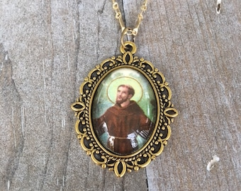 St. Francis of Assisi Repurposed Vintage Holy Card Glass Cabochon Necklace