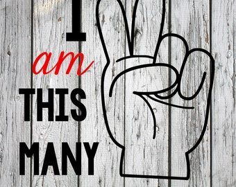 SVG, PNG, Studio3 Cut File, I am This Many Two, Silhouette Cut File, Cricut Cut File, Birthday