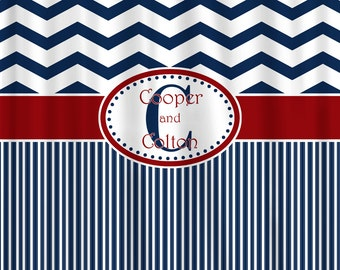 Custom Personalized Chevron and Stripe Combo Shower Curtain - your colors and 2 sizes available