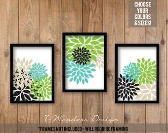 Flower Bursts, Floral Dahlia Abstract Art Print Set of (3) Flower Pictures // Turquoise Black Lime Tan // Bedroom, Bathroom - Unframed
