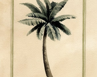 PALM TREE Set Of TWO Art Prints Signed by Watercolor Artist D J Rogers