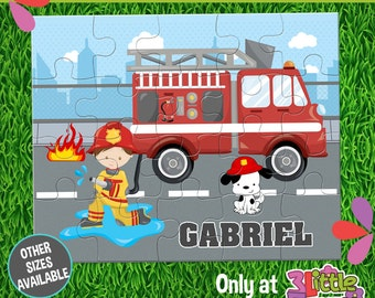 Firefighters Puzzle - Personalized 8 x 10 Puzzle - Personalized Name Puzzle - Personalized Children Puzzle - 20 pieces Puzzle - Truck Party