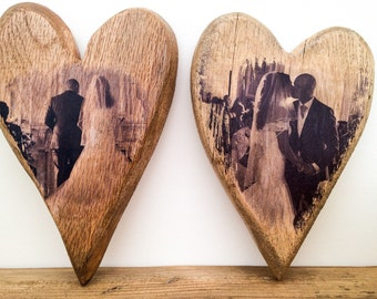 Rustic wooden photo print love heart. Personalised