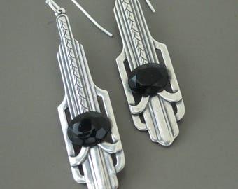 Vintage Earrings - Art Deco Earrings - Silver Earrings - Black Earrings - Chloe's Vintage Jewelry - handmade jewelry