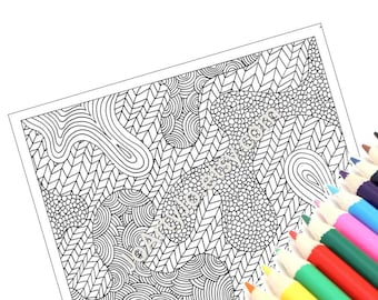 Instant Download PDF Coloring Page, Digital Coloring Sheet, Zentangle Inspired Intricate Zendoodle Pattern, Page 35