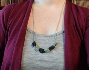 macrame leaf necklace, macrame leaves, unique bib necklace, micro macrame, natural adjustable necklace, micro macrame leaves, bohemian