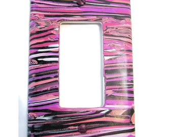 Light Switch Cover, Single Switch Plate, Rocker Switchplate in Fuchsia, Lavender and Peach