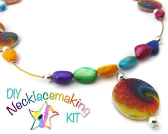 DIY Necklace kit, make your own necklace with colorful shell beads, creative girls craft kit