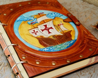 OOAK Handmade Genuine Leather Journal, Leather Journal Handmade, Sailing Ship Notebook, Diary, Gift for Her,  for Him