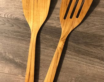 13.5inches long and 3 inches wide teak wood pair of ladles