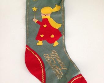 60s Mid Century Made in Japan Felt Merry Christmas Stocking