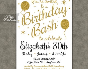 White party invitation printable white gold black tie 30th birthday invitations printable 30th birthday party invitation gold white 30th birthday invites gold glitter balloons bal filmwisefo