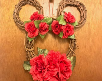 Mickey Mouse Wreath • Disney Wreath • Valentine's Day Wreath • Rose Wreath
