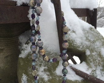 Faceted Fired Labradorite Extended Length Necklace w/ Amethyst & Angelite Beads