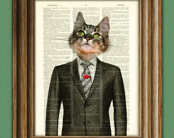 Business Cat Mason the New Kid in Suit and Tie illustration beautifully upcycled dictionary page book art print