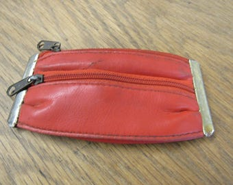 Vintage Red Plastic Zippered Coin Purse