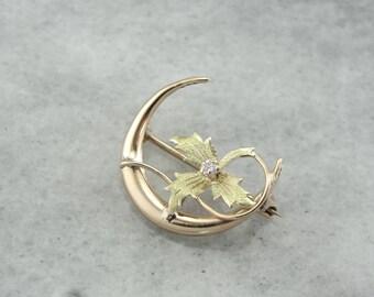 Ivy Moon, Art Nouveau Crescent Moon and Diamond Pin  XWERCA-P