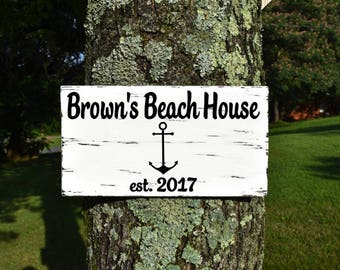 Personalized Family Name Beach House Sign, Beach Sign, Beach House Decor, Cottage Chic Beach Decor, Custom Beach Sign