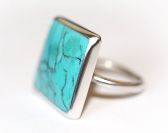 Turquoise Ring, Square Ring, Square Turquoise Ring, Turquoise Silver Ring, Chinese Matrix Turquoise, Turquoise jewellery, Natural Turquoise