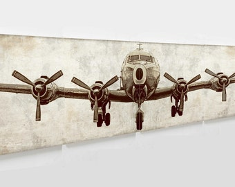"""Rustic  print  Airplane canvas art, ready for gallery wrap 24*24"""" 4 pcs in 1  size  24*96""""/ wall decor / bedroom idea  unframed"""