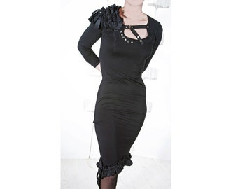 Black jersey Dress - Silk ruffles - made to order - noir - sexy - all season fashion -