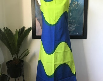 Marimekko custom made vintage dress in well known pattern / Maxi dress model lime green blue / Finland Scandinavian design