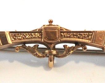 Victorian Etruscan Revival 12k Gold Bar Pin Brooch