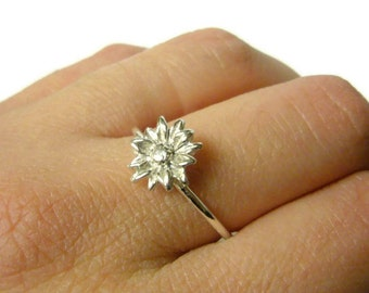 Silver sunflower ring Sterling silver flower ring silver stacking ring 925 Sterling silver ring nature sunflower jewelry