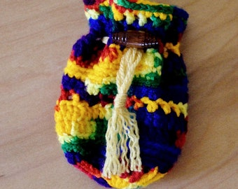 Rainbow Pouch - Draw String Pouch - Hand Crocheted Bag - Medicine Bag - Herb Sack - Pocket Pouch