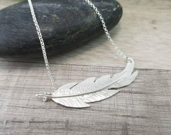Silver Feather Necklace / Sterling Silver Feather Necklace/ Hand Forged Feather / Angel Wing / Sideways Bar Necklace
