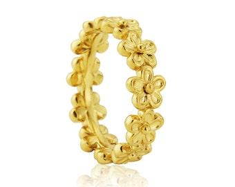 Yellow Gold Vermeil Medium Flower Garland Ring