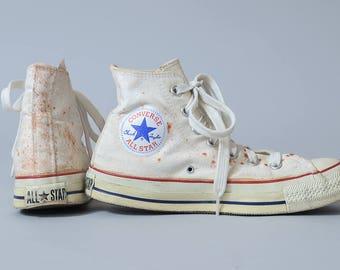 80s Converse Made In USA White Chuck Taylor High Top Converse Allstars, 7 Womens 5 Mens