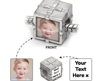 Custom Photo Charm UK | Personalised in 925 Silver | Present Message | Pandora Bead Compatible - Personalised Jewellery