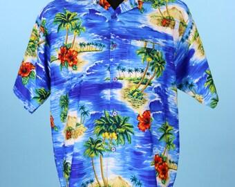 Vintage 1980s Mens Blue Hawaiian Shirt Size M