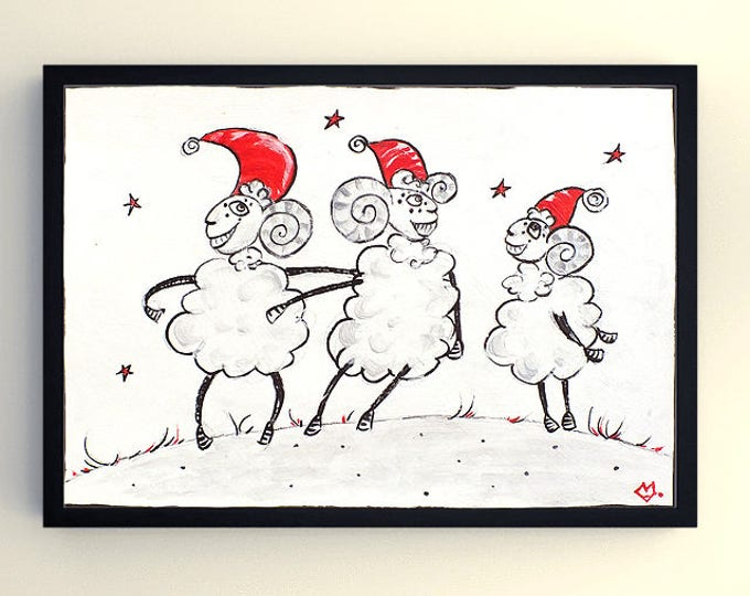 Christmas Sheep - graphic acrylic painting on paper
