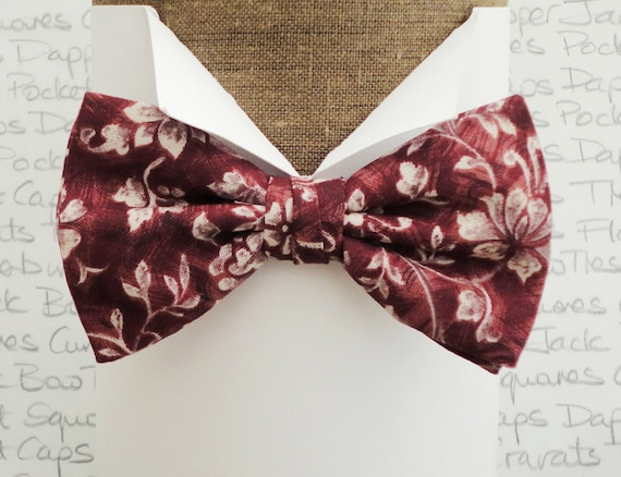 Bow ties for men, floral bow tie, burgundy and grey floral bow tie, pre tied or self tie