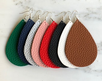Leather Large Drop Statement Earrings