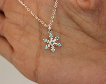 Sterling Silver Blue Topaz Snowflake Necklace, Mother Gift, Sister Gift, Christmas Gift, Blue Christmas
