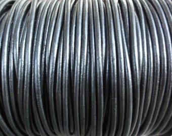 1.5mm Metallic Gunmetal Genuine Leather Round Cord - Metallic Black - 2 Yard Increments