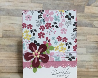 Greeting card, handmade card, birthday card, occasion card, pink, floral design
