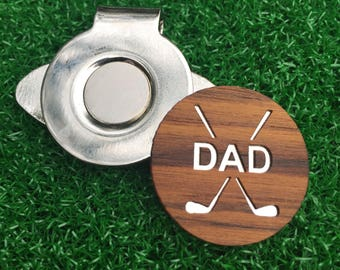 Fathers Day Personalized or DAD or Grandpa Teak Wood golf ball marker hat clip dad gift