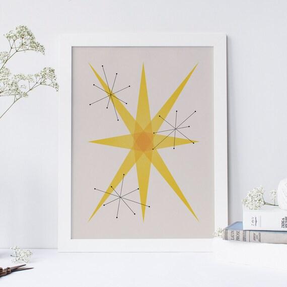 Mid Century Modern Minimalist Geometric Art Print Abstract