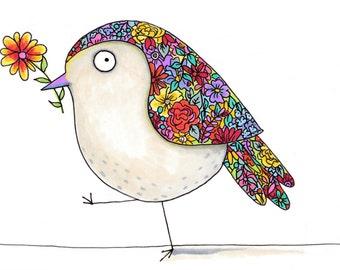 Colorful and cute bird watercolor, cheerful bird painting, flower bird wall decor, bird lover gift, flower print, backyard birding, nature