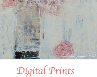 Pink Roses Flower Painting Print. Shabby Floral Art Digital Print. Cottage Chic Decor. 97
